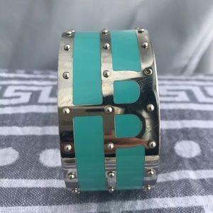 Henri Bendel Turquoise/Silver metal cuff